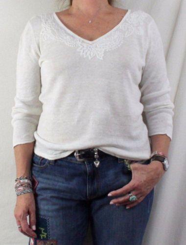 Lauren Ralph Lauren XL size Ivory Embroidered Linen Top Vneck Vacation Blouse
