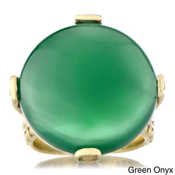 Emiations Genuine Gemstone Cabochon Cocktail Ring (Green Onyx (Size 6)), Women's, Black