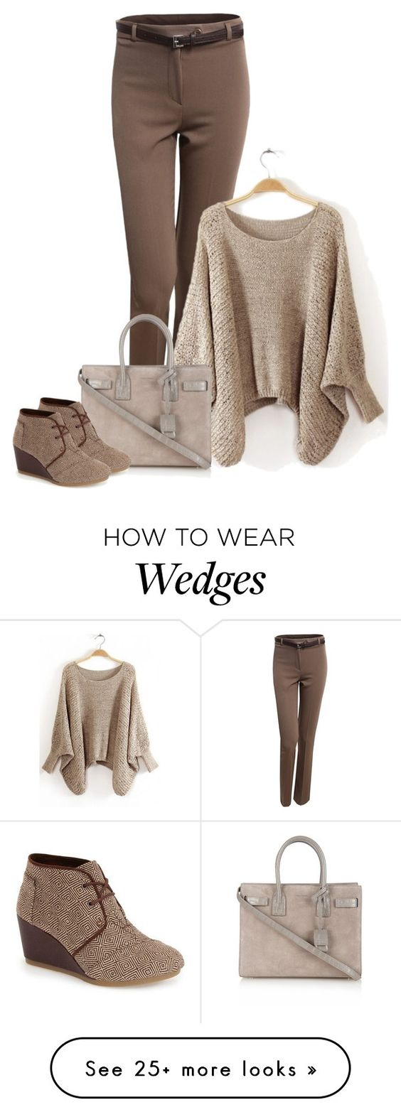 """""""wedges"""" by concettodimoda on Polyvore featuring LE3NO, Yves Saint Laurent and TOMS"""