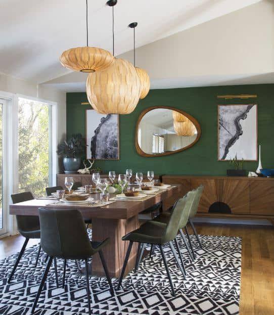 40 Green Dining Room Ideas Photos Green Dining Room Mid Century Modern Dining Room Dining Room Style