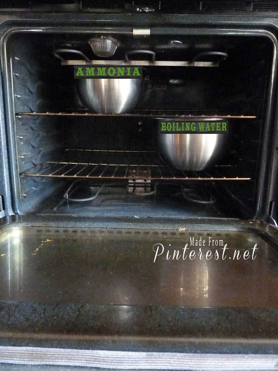 Ammonia -- Water -- Baking soda -- Preheat to 200° then turn off -- In a heat safe glass dish, fill with ammonia and set on middle rack (about 1 to 2 cups of ammonia). -- In another dish, fill with boiling water and set on bottom rack (2 cups) -- Leave overnight -- The next morning, remove dishes and wipe down the inside with a hot wet sponge first drizzled with baking soda.  Full instructions >> http://www.madefrompinterest.net/2013/04/oven-cleaning/