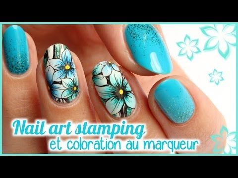 NAIL ART STAMPING et coloration au marqueur  - YouTube