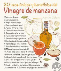 20 usos únicos e increíbles beneficios del vinagre de manzana https://www.pinterest.com/HANALUN/remedios-tips/