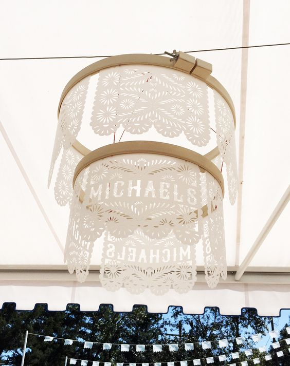 Craft a papel picado chandelier with Cricut® Explore Air™! We cut designs on Dura-Lar™ polyester film and strung them on embroidery hoops.
