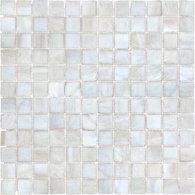 "11-3/4"" x 11-3/4"" White Linen Tones Glass Wall Tile - Kitchen Backsplash"