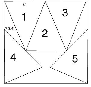 """Bunting template... how to get 5 - 7.75"""" x 6"""" triangles on a 12"""" x 12"""" paper.."""