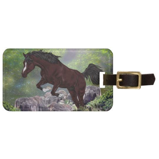 Mahogany Bay Horse Jumping Luggage Tag