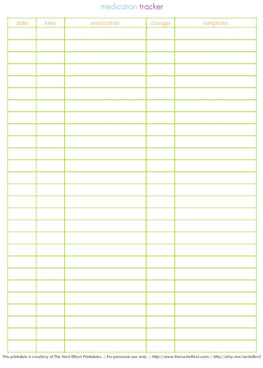 Free Printable: Medication Tracker