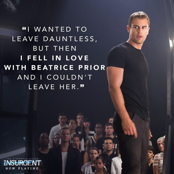 Tobias under truth serum. ***SPOILERS***But in an interview Veronica Roth said that he falls in love with Christina 3 years after The end of the book, so 5 1/2 years after Tris dies.