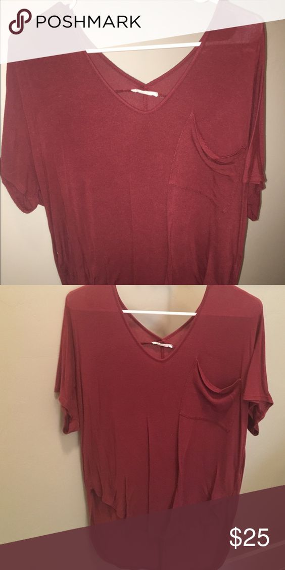 Lush maroon hi low top Like new maroon lush too from Nordstrom! This tee is super soft and comfortable! It has a slouchy fit and the material is seriously to die for! Has only been worn twice!! Lush Tops Tees - Short Sleeve