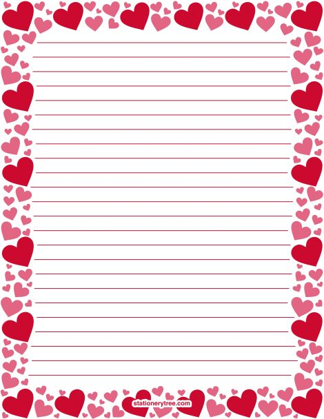 valentine heart writing paper