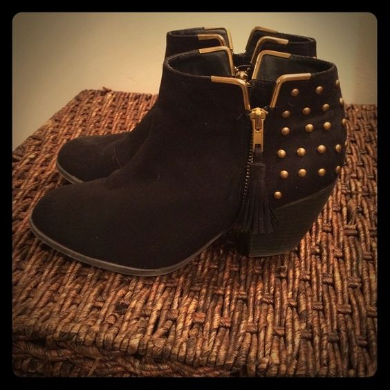 Black Micro Suede Booties w/ Gold Studs Black faux micro suede ankle botties with gold stud details around the heel and a gold zipper with fringe Shoe Dazzle Shoes Ankle Boots & Booties