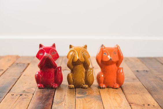 Speak No Evil. See No Evil. Hear No Evil. Adorable ceramic fox trio from Earthbound