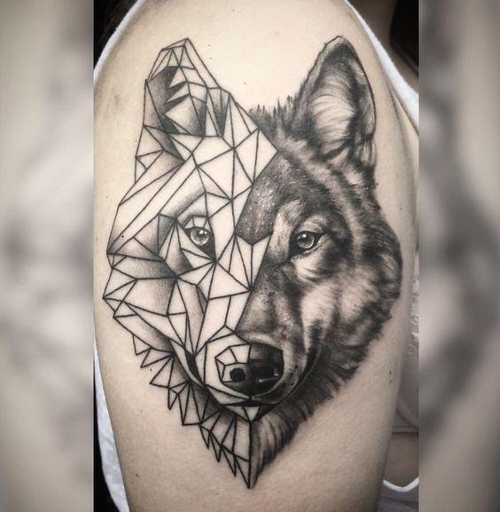20 Lobo geometrico tatuaje