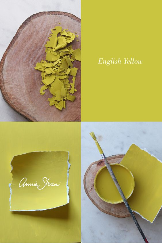 This one of kind paint colour is called English Yellow by Annie Sloan
