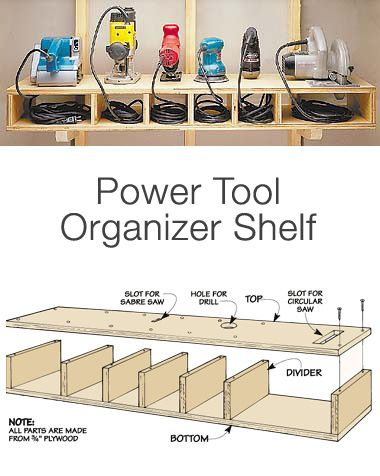 Garage Storage on a Budget: From Woodworking Tips, how to make a tool shelf. This one is really customized, but just uses inexpensive plywood.: