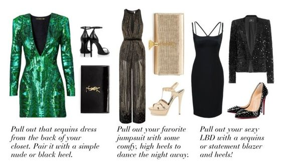NYE Outfit Ideas by saltyandchic.com featuring Balmain, Marc Jacobs, Steffen Schraut, Topshop, Christian Louboutin, Yves Saint Laurent, nye and nyestyle