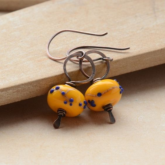 Yellow Blossom Lampwork Glass Bead and Copper Earrings £13.50