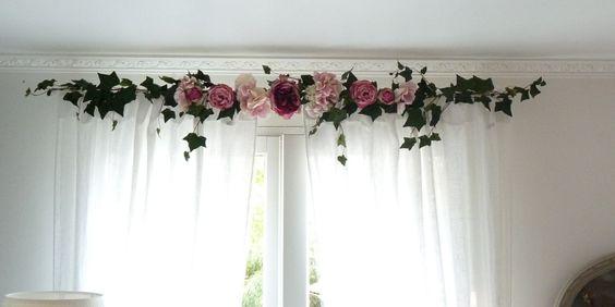 D coration rideaux guirlandine roses guirlande de roses for Cantonniere pour fenetre