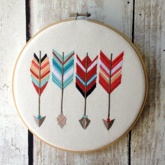 Hoop art arrows machine embroidered wall hanging