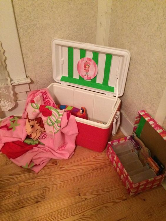 I turned an extra cooler into a toy box for my grandkids!