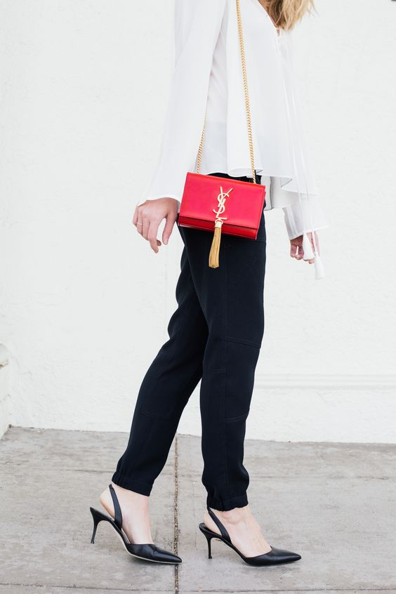 red saint laurent bag // vince pants // manolo blahnik slingbacks // elizabeth and james blouse // clean modern style