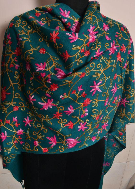 Kashmiri Embroidered Cashmere Shawl - Pashmina Golden