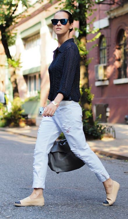 Distressed jeans paired with espadrille