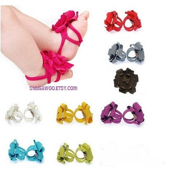 Baby sandals Baby girl flower barefoot sandals feet door SnugAWoo