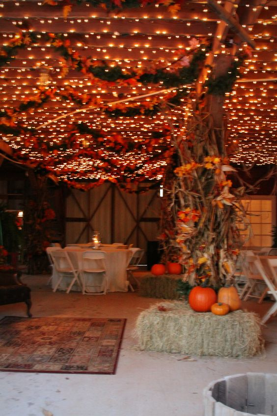 Autumn Wedding: Flowers Pumpkins barn reception #Autumnal #wedding #fallwedding