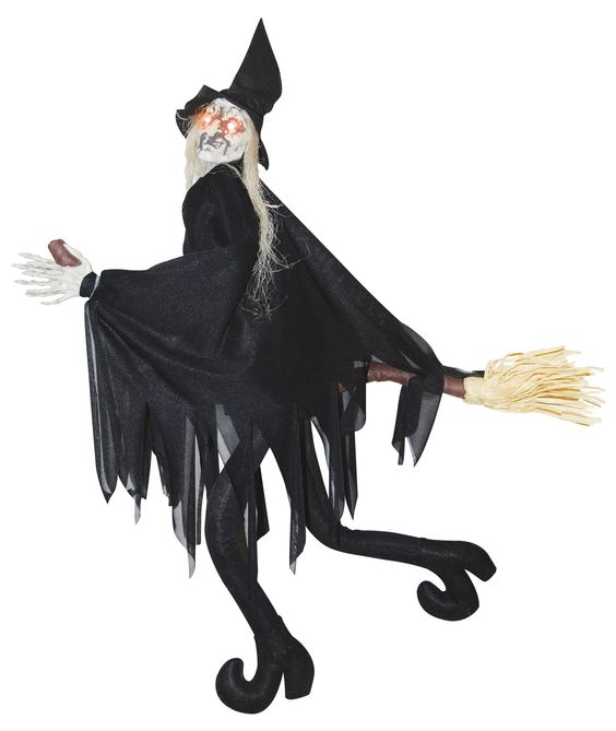 Animated Flying Kicking Wicked Witch On Broom Hanging Halloween Prop