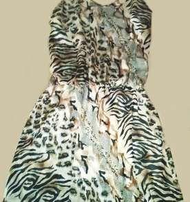 Vestido de alça com padronagem de onça
