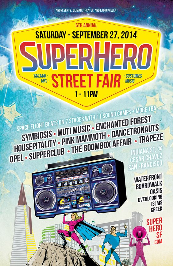 We're in the final month leading up to #SuperHero Street Fair! Get your costume, get your dancing shoes, and join us on the water front. Who will you be?