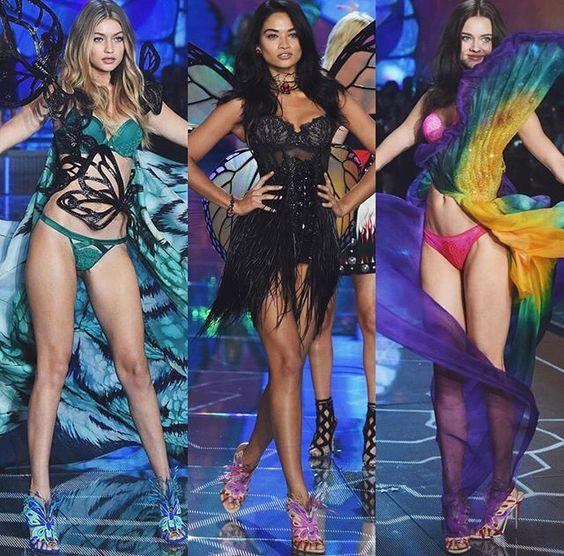 "Gigi Hadid, Shanina Shaik and Jac Monika Jagaciak for segment ""Exotic Butterflies "" at VS Victoria's Secret Fashion Show vsfs 2015 - december/ in NYC"