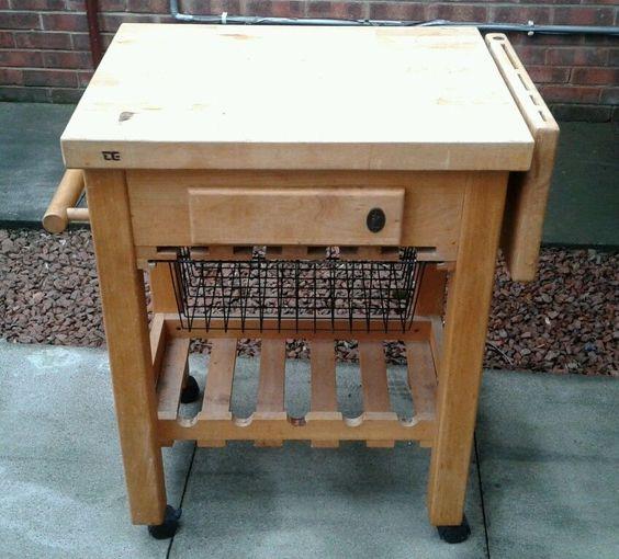 wooden kitchen trolley island unit butchers block wine