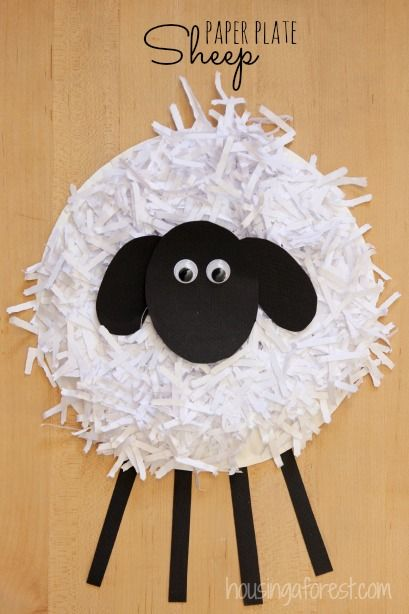 Paper plate sheep craft farm crafts for kids for Cardboard sheep template