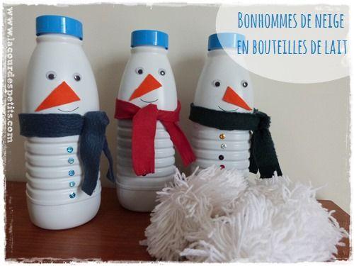 Bricolage bonhomme de neige en recyclant des bouteilles de lait bricolage - Bonhomme de neige bricolage ...