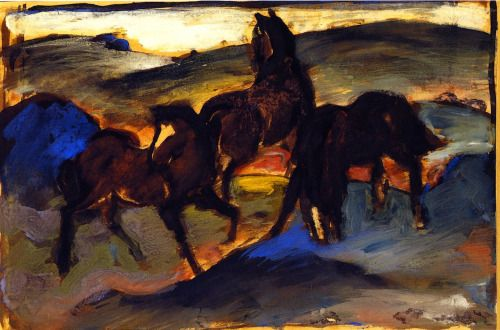 "terminusantequem: "" Franz Marc (German, 1880-1916) - Horses in a Pasture II [Three Horses], (1910) """