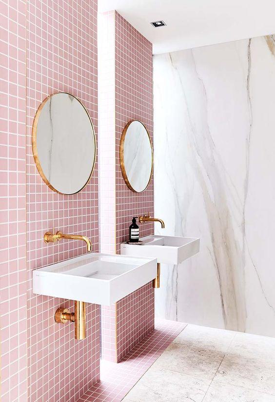 Pink tiled modern bathroom on Thou Swell @thouswellblog