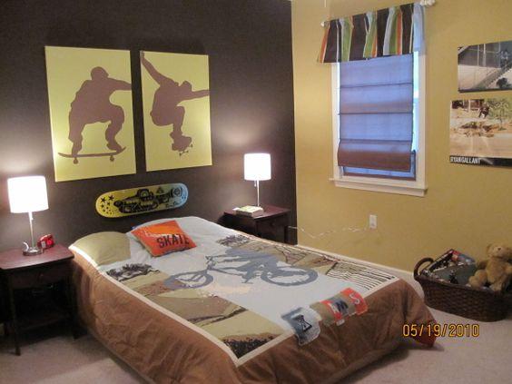 Skateboard decorations room skateboarding room for Boys skateboard bedroom ideas