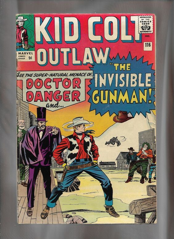 Marvel Comics, Kid Colt Outlaw #116: Cover art, Pencils, Jack Kirby, Inks Sol Brodsky, and Colors Stan Goldberg: Cover date May 1964.