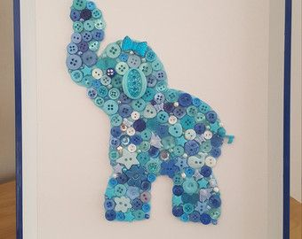 Baby Elephant nursery theme button art