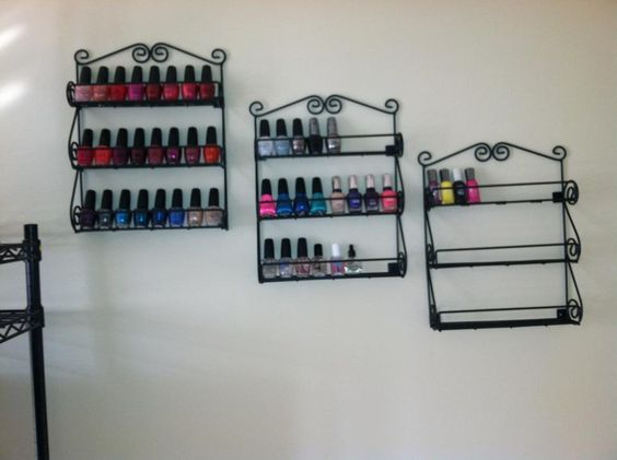 How I store my nail polish. Spice racks from Amazon.com