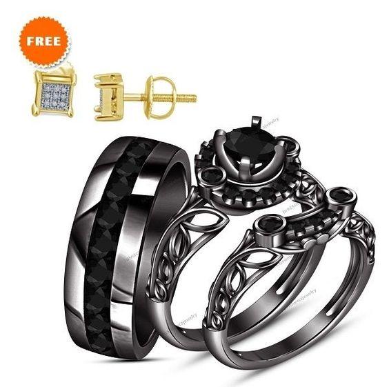 Real Diamond Men Ladies Bride & Groom Wedding Engagement Ring Trio Set 5/6 Carat #br925silverczjewelry