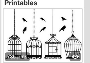 ART DRAW BIRD CAGE SILLOETTES