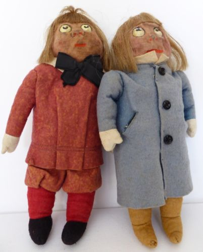 a-pair-of-stunning-antique-felt-and-cloth-material-dolls-Probably-Victorian