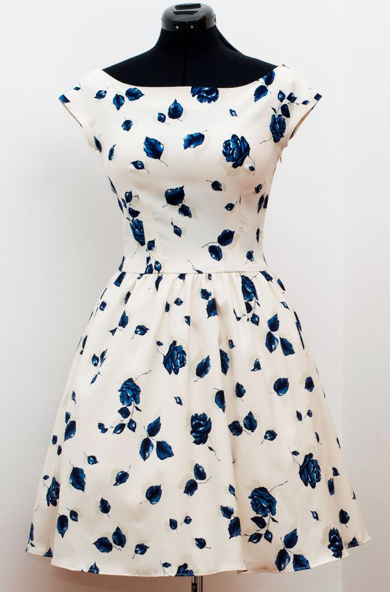 50s party dress/ 50s prom dress/ 50s cocktail dress/ 50s floral dress/ white 50s floral dress READY TO SHIP. $139.00, via Etsy.