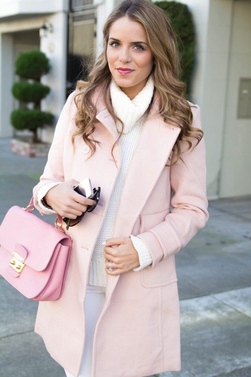 Pastel pink winter coat, baby pink satchel and white jumper ...