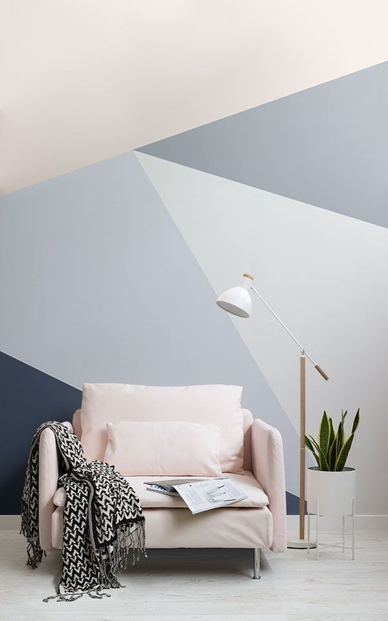 Showing off sharp lines and appealing blue tones, our Blue Oversized Geometric Wall Mural oozes with modern style that immediately uplifts the look of your living room. This wallpaper mural features large geometric shapes in varying shades of blue, making it an ideal partner for both dark-and-light-coloured home décor.