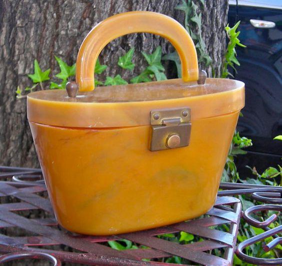 Vintage Bakelite Hardy Butterscotch box purse by OwlTalk on Etsy, $110.00